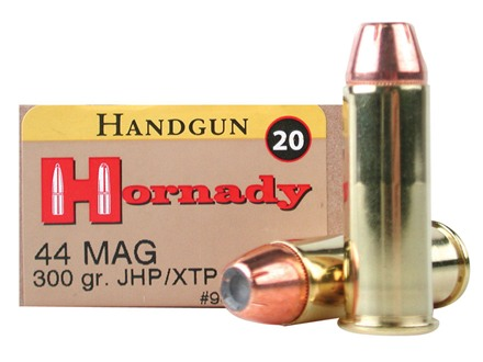 Hornady Custom Ammunition 44 Remington Magnum 300 Grain XTP Jacketed Hollow Point Box of 20