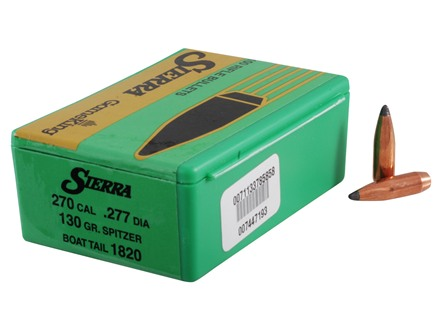 Sierra GameKing Bullets 270 Caliber (277 Diameter) 130 Grain Spitzer Boat Tail Box of 100