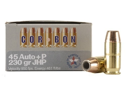 Cor-Bon Self-Defense Ammunition 45 ACP +P 230 Grain Jacketed Hollow Point Box of 20