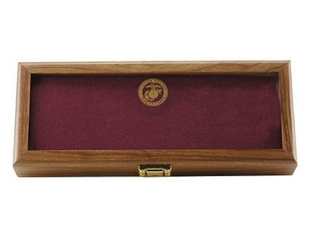 "KA-BAR U.S.M.C. Commemorative Knife Display Case 14-7/8"" x 5-7/8"" Walnut with Red Interior"