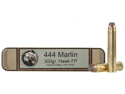 Grizzly Ammunition 444 Marlin 300 Grain Hawk Bonded Core Jacketed Flat Point Box of 20