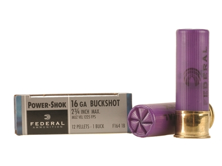 Federal Power-Shok Ammunition 16 Gauge 2-3/4&quot; Buffered #1 Buckshot 12 Pellets Box of 5