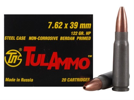TulAmmo Ammunition 7.62x39mm 122 Grain Jacketed Hollow Point (Bi-Metal) Steel Case Berdan Primed