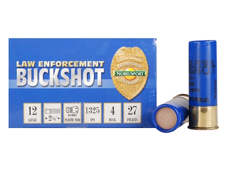 NobelSport Law Enforcement Ammunition 12 Gauge 2-3/4&quot; #4 Buckshot 27 Pellets Box of 10