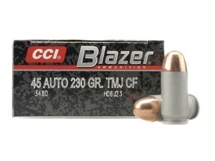 CCI Blazer Clean-Fire Ammunition 45 ACP 230 Grain Total Metal Jacket Box of 50