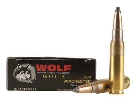 Wolf Gold Ammunition 308 Winchester 150 Grain Soft Point Box of 20