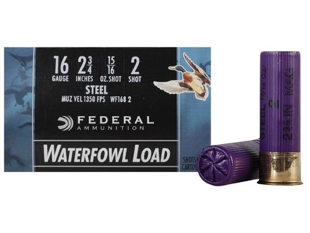 "Federal Speed-Shok Waterfowl Ammunition 16 Gauge 2-3/4"" 15/16 oz #2 Non-Toxic Steel Shot"