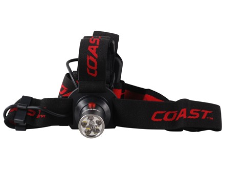 Coast HL4 Headlamp 5 White LEDs and 1 Red LED with Batteries (3 AAA) Aluminum Gray
