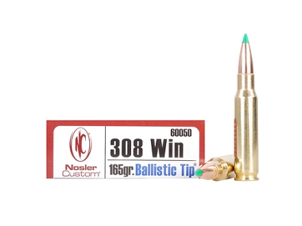 Nosler Trophy Grade Ammunition 308 Winchester 165 Grain Ballistic Tip Hunting Box of 20