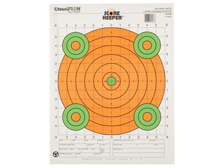 Champion Score Keeper 100 Yard Sight-In Rifle Target 14&quot; x 18&quot; Paper Fluorescent Orange Bull Package of 12