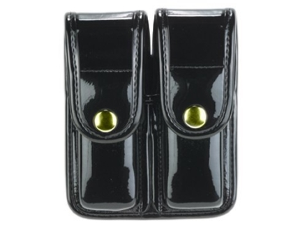Bianchi 7902 AccuMold Elite Double Magazine Pouch Double Stack 9mm, 40 S&W Brass Snap Trilaminate High-Gloss Black