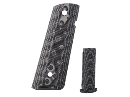Hogue Extreme Series Magrip Kit 1911 Government, Commander Checkered with Flat Mainspring Housing G-10 G-Mascus Black and Grey