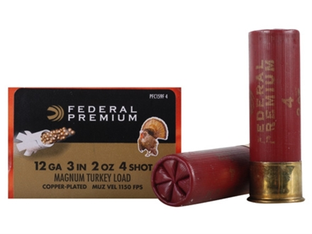Federal Premium Mag-Shok Turkey Ammunition 12 Gauge 3&quot; 2 oz #4 Copper Plated Shot High Velocity Box of 10