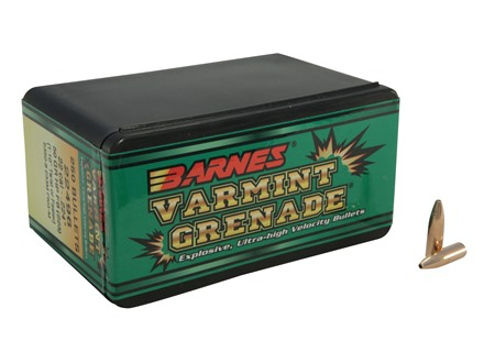 Barnes Varmint Grenade Bullets 22 Caliber (224 Diameter) 50 Grain Hollow Point Lead-Free