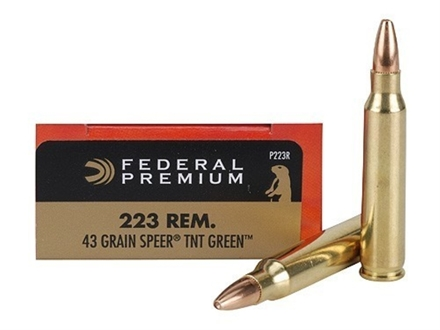 Federal Premium Ammunition 223 Remington 43 Grain Speer TNT Green Hollow Point Lead-Free Box of 20