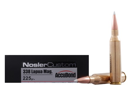 Nosler Trophy Grade Ammunition 338 Lapua Magnum 225 Grain AccuBond Box of 20