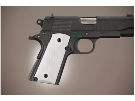 Hogue Extreme Series Grip 1911 Officer Checkered Aluminum Matte Clear