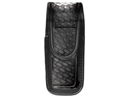 Bianchi 7903 Single Magazine Pouch or Knife Sheath Beretta 92, 96, Browning Hi-Power, Sig Sauer P226, P228, P229 Hidden Snap Trilaminate Basketweave Black
