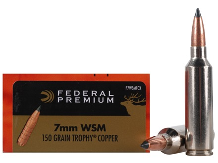 Federal Premium Vital-Shok Ammunition 7mm Winchester Short Magnum (WSM) 150 Grain Trophy Copper Tipped Boat Tail Lead-Free Box of 20