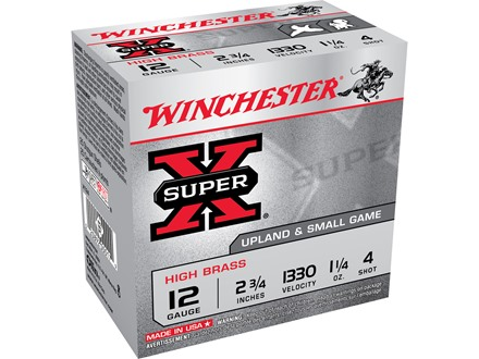 "Winchester Super-X High Brass Ammunition 12 Gauge 2-3/4"" 1-1/4 oz #4 Shot Box of 25"