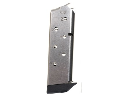 Chip McCormick Match Grade Magazine with Base Pad 1911 Officer 45 ACP 7-Round Stainless Steel