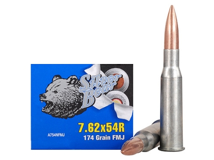 Silver Bear Ammunition 7.62x54mm Rimmed Russian 174 Grain Full Metal Jacket (Bi-Metal) Box of 20