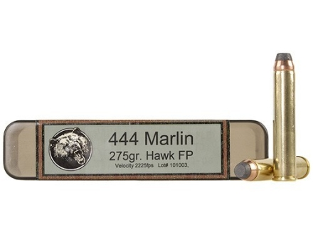 Grizzly Ammunition 444 Marlin 275 Grain Hawk Bonded Core Jacketed Flat Point Box of 20