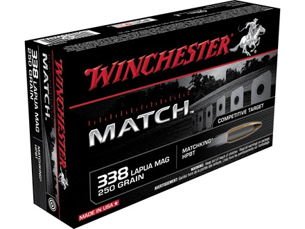 Winchester Match Ammunition 338 Lapua Magnum 250 Grain Sierra MatchKing Hollow Point Boat Tail Box of 20