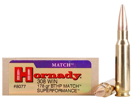 Hornady SUPERFORMANCE Ammunition 308 Winchester 178 Grain Boat Tail Hollow Point Match Box of 20
