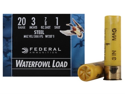 Federal Speed-Shok Waterfowl Ammunition 20 Gauge 3&quot; 7/8 oz #1 Non-Toxic Steel Shot Box of 25