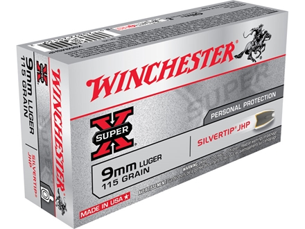 Winchester Super-X Ammunition 9mm Luger 115 Grain Silvertip Hollow Point Box of 50