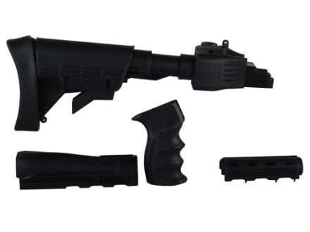 Advanced Technology Strikeforce 6-Position Collapsible Stock and Handguard Set with Scorpion Recoil System &amp; Pistol Grip AK-47, AK-74 Stamped Receivers Polymer Black