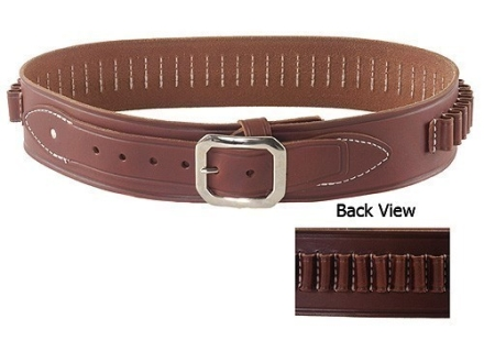 Oklahoma Leather Deluxe Cartridge Belt 38 Caliber Leather Brown Large 40&quot; to 45&quot;