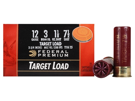 Federal Premium Gold Medal Target Ammunition 12 Gauge 2-3/4&quot; 1-1/8 oz #7-1/2 Shot Box of 25