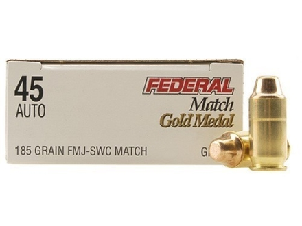 Federal Premium Gold Medal Match Ammunition 45 ACP 185 Grain Full Metal Jacket Semi-Wadcutter Box of 50