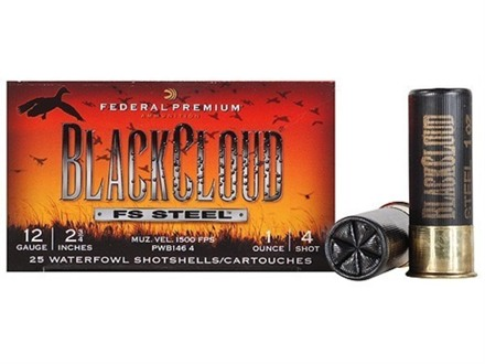 "Federal Premium Black Cloud Ammunition 12 Gauge 2-3/4"" 1 oz #4 Non-Toxic FlightStopper Steel Shot"