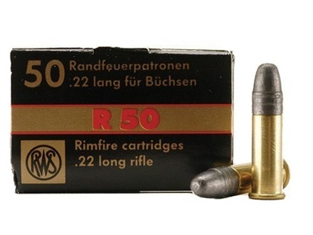 RWS R-50 Ammunition 22 Long Rifle 40 Grain Lead Round Nose Box of 500 (10 Boxes of 50)