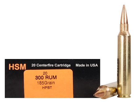 HSM Trophy Gold Ammunition 300 Remington Ultra Magnum 185 Grain Berger Hunting VLD Hollow Point Boat Tail Box of 20