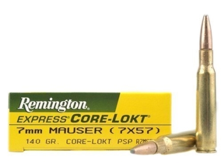 Remington Express Ammunition 7x57mm Mauser (7mm Mauser) 140 Grain Core-Lokt Pointed Soft Point Box of 20