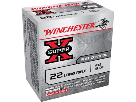 Winchester Super-X Ammunition 22 Long Rifle 25 Grain #12 Shot Shotshell Box of 50