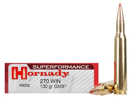 Hornady SUPERFORMANCE Ammunition 270 Winchester 130 Grain Gilding Metal Expanding Boat Tail Box of 20
