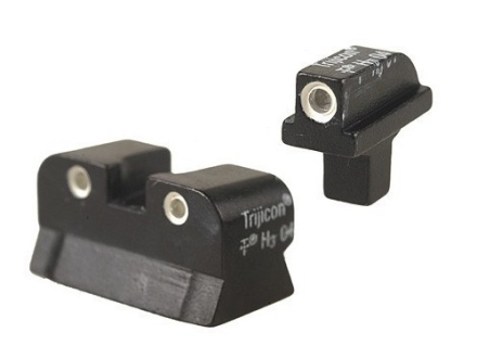 Trijicon Night Sight Set 1911 Stake-On Wide Tenon Front & Standard GI Rear Cut Steel Matte 3-Dot Tritium Green