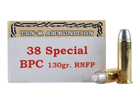 Ten-X Cowboy Ammunition 38 Special 130 Grain Lead Round Nose Flat Point BPC Box of 50
