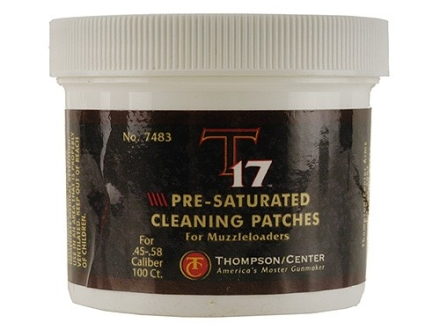 Thompson Center T17 Cleaning Patches 45 to 58 Caliber Round Pre-Saturated Cotton Jar of 100