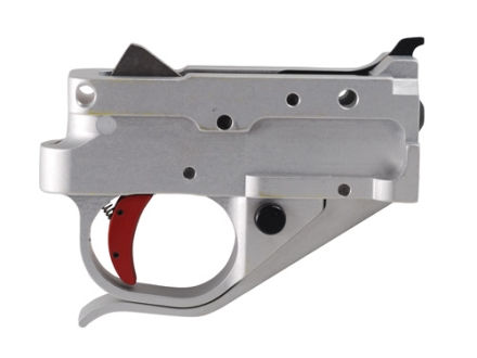 Timney Trigger Guard Assembly Ruger 10/22 2-3/4 lb Aluminum Red with Silver Lower