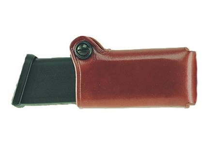 Galco Horizontal Single Magazine Pouch 40 S&W, 9mm Double Stack Metal Magazines Leather Tan