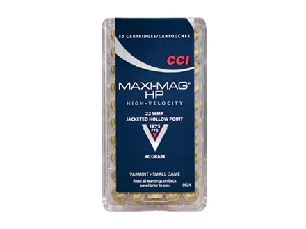 CCI Maxi-Mag Ammunition 22 Winchester Magnum Rimfire (WMR) 40 Grain Jacketed Hollow Point Box of 500 (10 Boxes of 50)