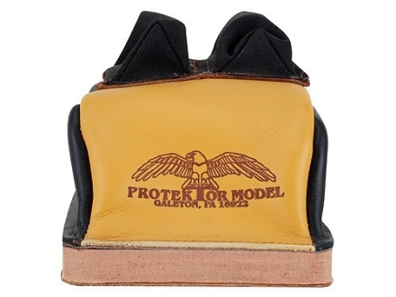 Protektor Deluxe Double Stitched Bunny Ear Rear Shooting Rest Bag with Heavy Doughnut Bottom Leather and Cordura Black and Yellow Unfilled