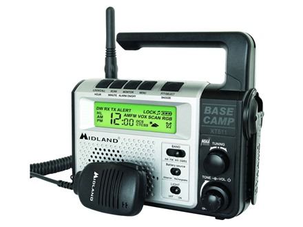 Midland XT511 Base Camp Radio with NOAA Weather 22 Channel Silver and Black