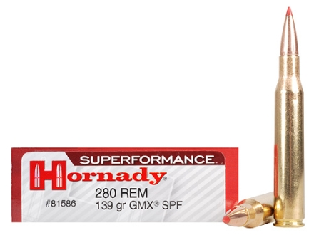 Hornady SUPERFORMANCE Ammunition 280 Remington 139 Grain Gilding Metal Expanding Boat Tail Box of 20